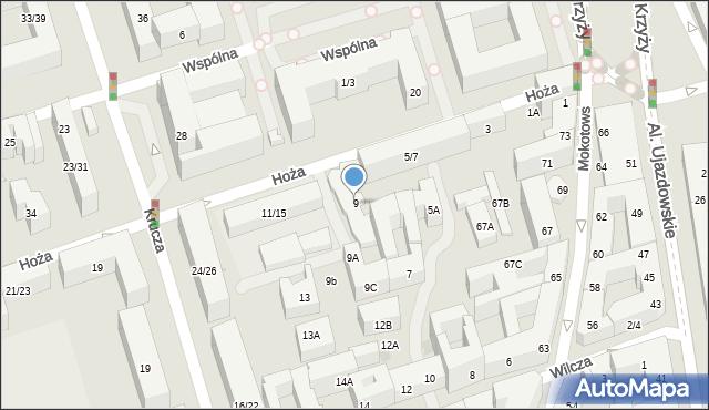 Warszawa, Hoża, 9, mapa Warszawy