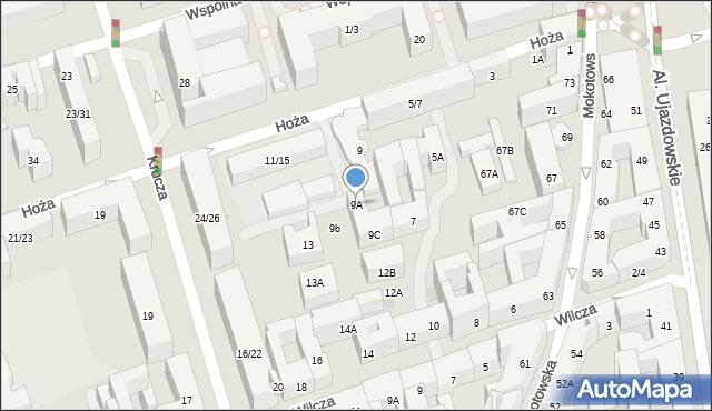 Warszawa, Hoża, 9A, mapa Warszawy