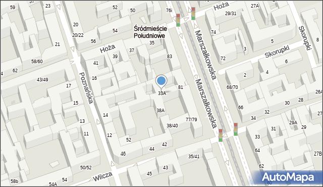 Warszawa, Hoża, 33A, mapa Warszawy