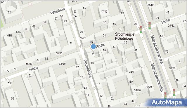 Warszawa, Hoża, 41, mapa Warszawy
