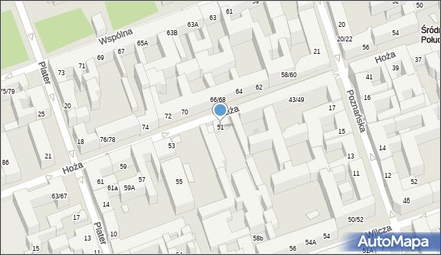 Warszawa, Hoża, 51, mapa Warszawy