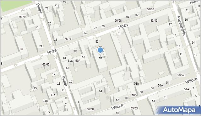 Warszawa, Hoża, 55, mapa Warszawy