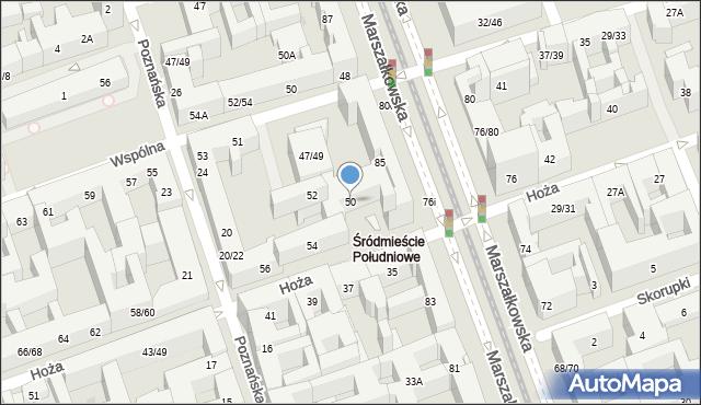Warszawa, Hoża, 50, mapa Warszawy