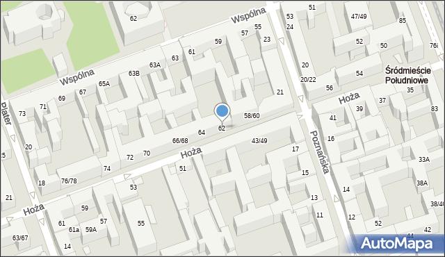 Warszawa, Hoża, 62, mapa Warszawy