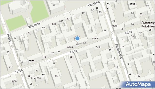 Warszawa, Hoża, 64, mapa Warszawy