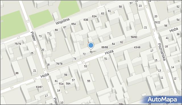Warszawa, Hoża, 70, mapa Warszawy