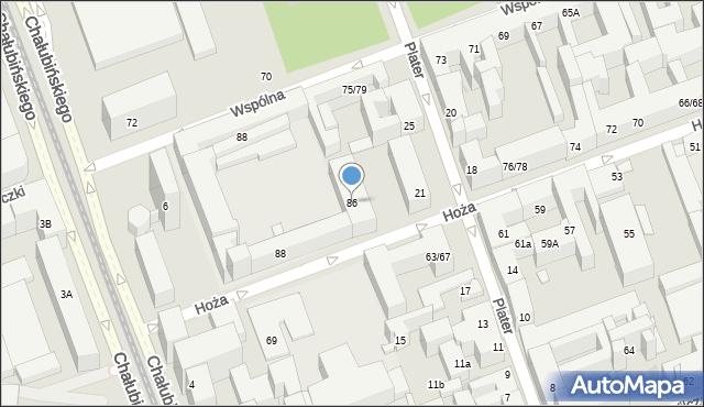 Warszawa, Hoża, 86, mapa Warszawy