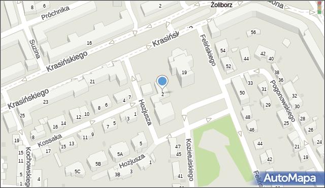 Warszawa, Hozjusza Stanisława, 2, mapa Warszawy