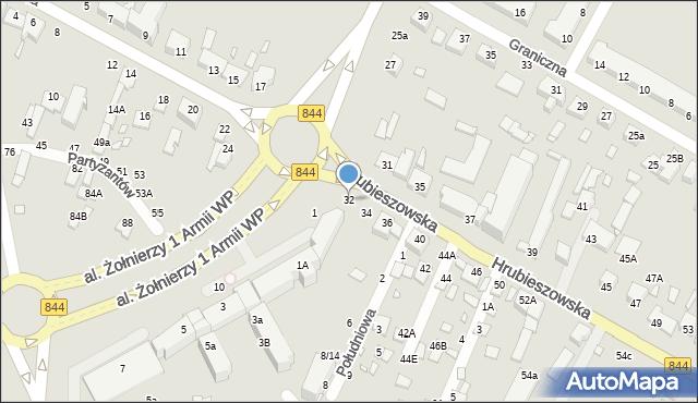 Chełm, Hrubieszowska, 32, mapa Chełma