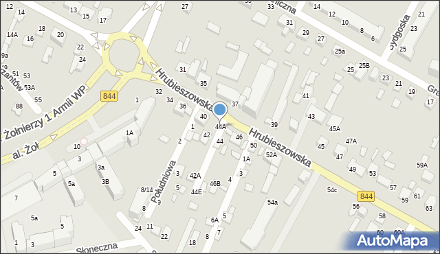 Chełm, Hrubieszowska, 44A, mapa Chełma