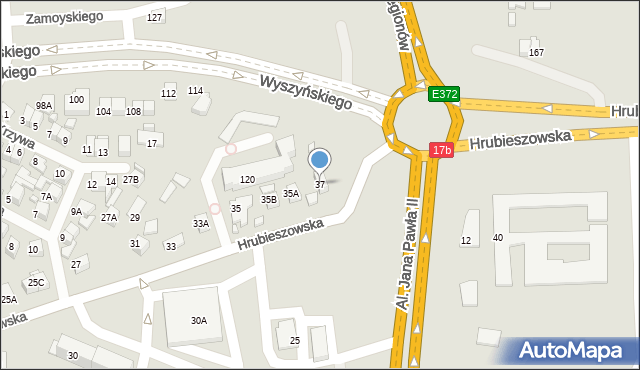 Zamość, Hrubieszowska, 37, mapa Zamościa