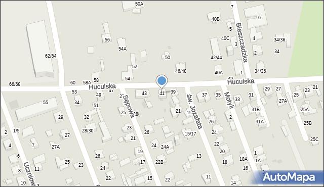 Częstochowa, Huculska, 41, mapa Częstochowy