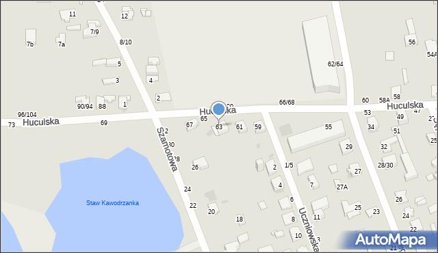 Częstochowa, Huculska, 63, mapa Częstochowy