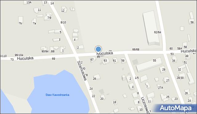 Częstochowa, Huculska, 65, mapa Częstochowy
