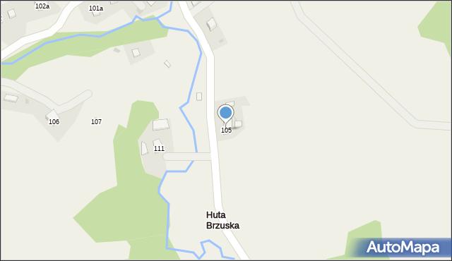 Huta Brzuska, Huta Brzuska, 105, mapa Huta Brzuska