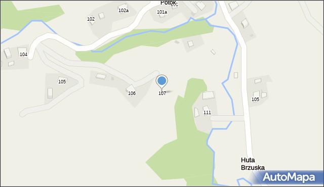 Huta Brzuska, Huta Brzuska, 107, mapa Huta Brzuska
