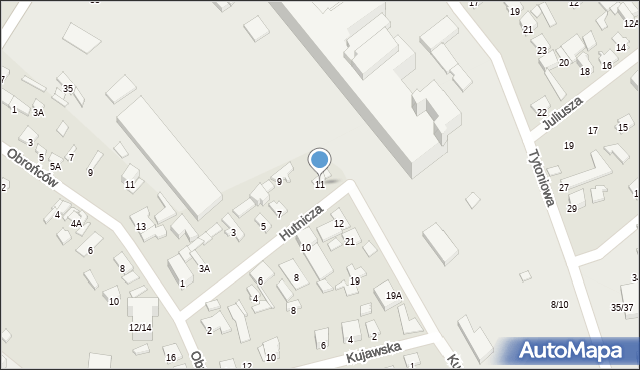 Radom, Hutnicza, 11, mapa Radomia
