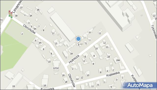 Radom, Hutnicza, 3, mapa Radomia
