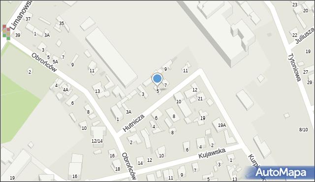 Radom, Hutnicza, 5, mapa Radomia