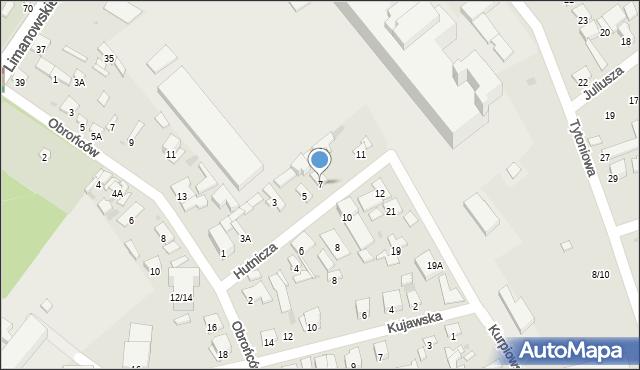 Radom, Hutnicza, 7, mapa Radomia