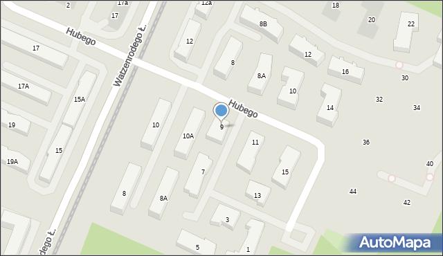 Toruń, Hubego Jana Michała, 9, mapa Torunia