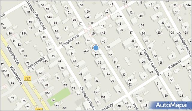 Warszawa, Husarii, 37, mapa Warszawy