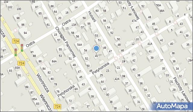 Warszawa, Husarii, 41, mapa Warszawy