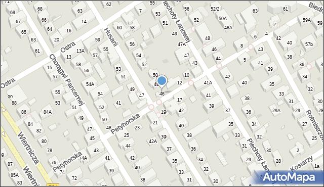 Warszawa, Husarii, 46, mapa Warszawy