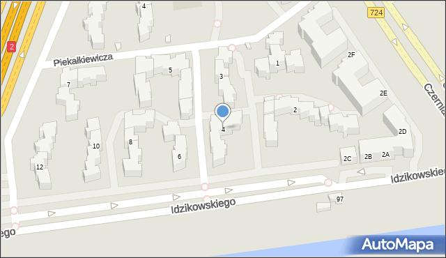 Warszawa, Idzikowskiego Ludwika, mjr., 4, mapa Warszawy