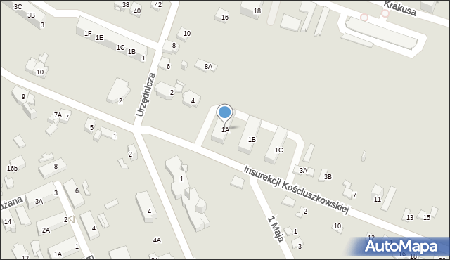 Jaworzno, Insurekcji Kościuszkowskiej, 1A, mapa Jaworzno