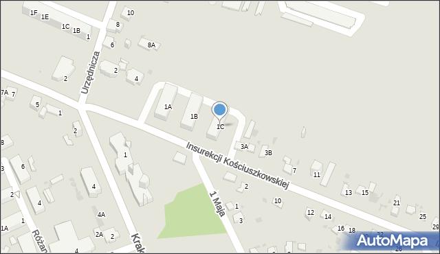 Jaworzno, Insurekcji Kościuszkowskiej, 1C, mapa Jaworzno