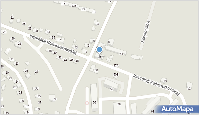 Jaworzno, Insurekcji Kościuszkowskiej, 47, mapa Jaworzno