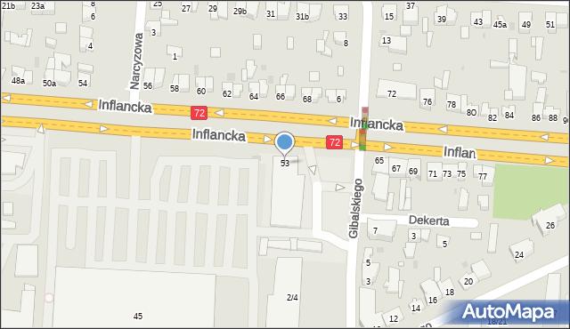 Łódź, Inflancka, 53, mapa Łodzi