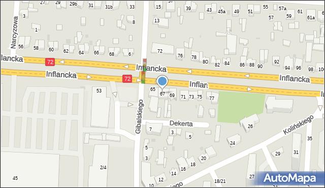 Łódź, Inflancka, 67, mapa Łodzi