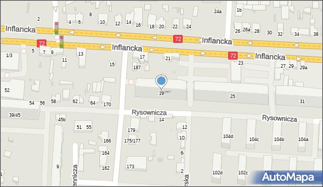 Łódź, Inflancka, 19, mapa Łodzi