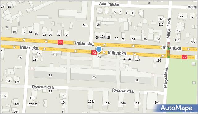 Łódź, Inflancka, 23, mapa Łodzi
