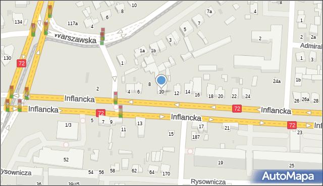 Łódź, Inflancka, 10, mapa Łodzi