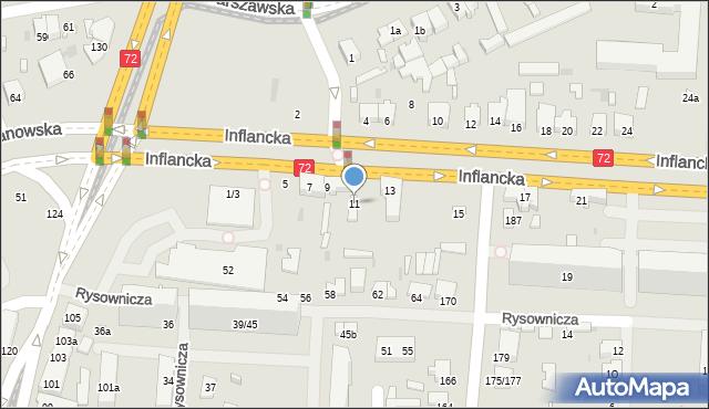 Łódź, Inflancka, 11, mapa Łodzi