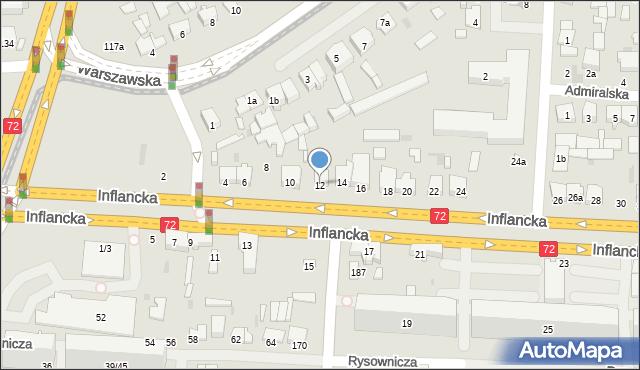 Łódź, Inflancka, 12, mapa Łodzi