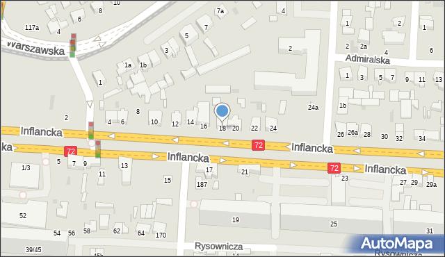 Łódź, Inflancka, 18, mapa Łodzi
