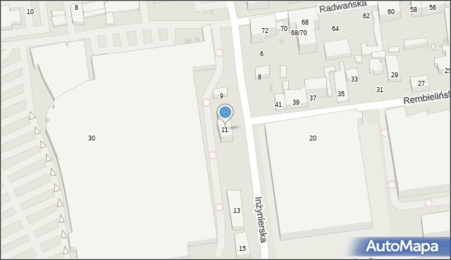 Łódź, Inżynierska, 11, mapa Łodzi
