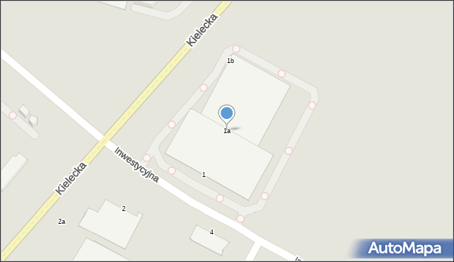 Radom, Inwestycyjna, 1a, mapa Radomia