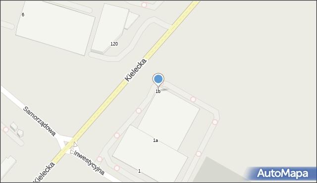 Radom, Inwestycyjna, 1b, mapa Radomia
