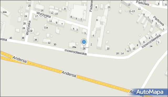 Toruń, Inowrocławska, 26, mapa Torunia