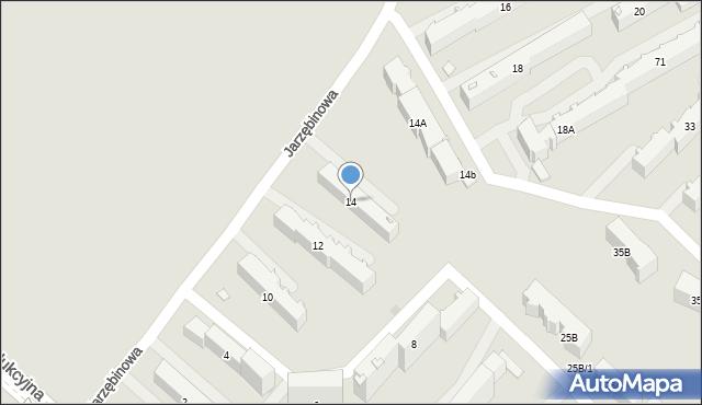 Białystok, Jarzębinowa, 14, mapa Białegostoku