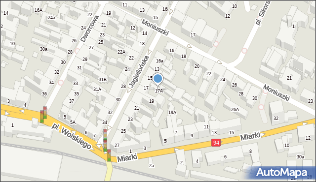 Bytom, Jagiellońska, 17A, mapa Bytomia
