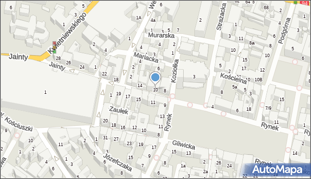 Bytom, Jainty Józefa, 10, mapa Bytomia