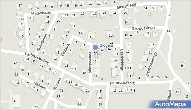 Chełm, Janowskiego Aleksandra, 12, mapa Chełma