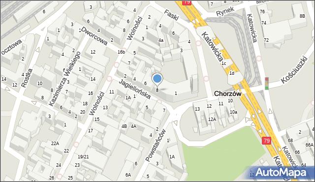 Chorzów, Jagiellońska, 8, mapa Chorzów