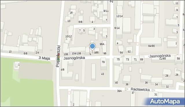 Częstochowa, Jasnogórska, 102, mapa Częstochowy